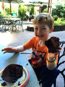 First treat - a giant chocolate cupcake, eaten outside in November!