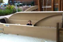 Trying out the one of the three waterslides