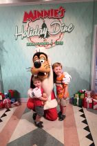 Our first big meal at Disney -- Minnie's Holiday Dinner. The boys loved meeting Santa Goofy